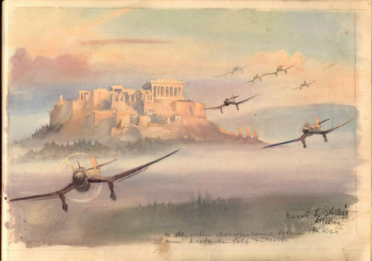Stukas returning back from their mission at Crete in the first light of the rising sun