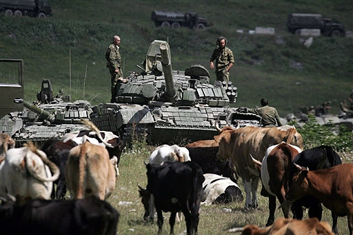 Russian tank on border of South Ossetia