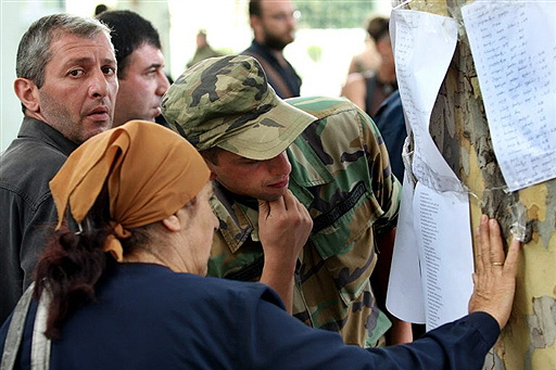 Civilians read list of Georgian killed and wounded in Gori, Georgia