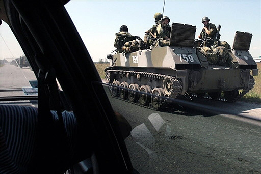 Russian armoured vehicle on a way to South Ossetia