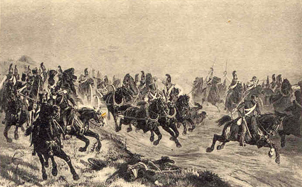 Pursuit by the Horse Guards of French artillery and mounted chasseurs at the battle of Polotzk, on Angust 6/18th