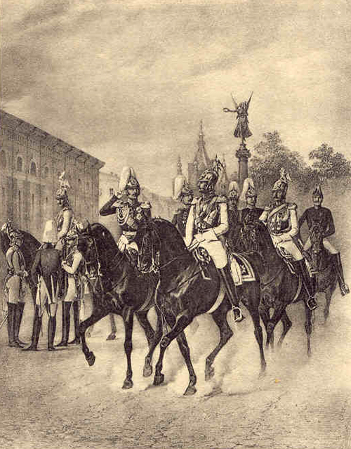 Emperor Nicholas I and the Heir Apparent, Grand Duke Alexander (later Emperor Alexander II) riding round the Horse Guards' regimental barracks