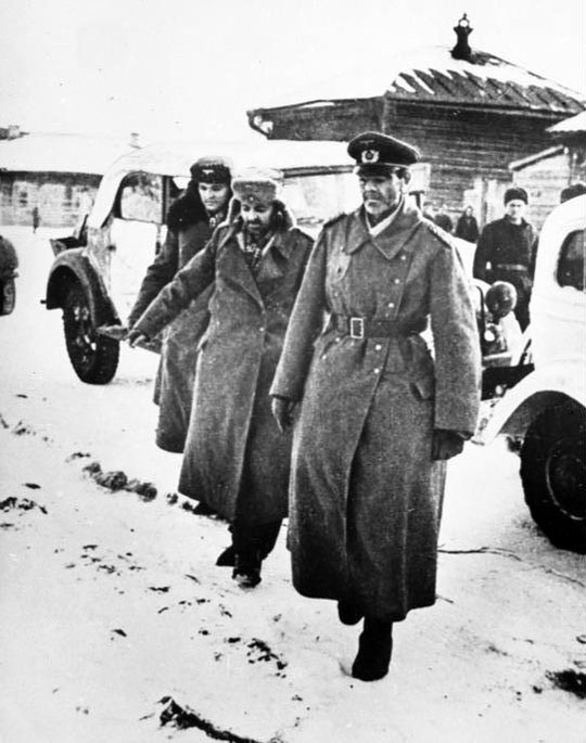 January 31, 1943, Beketovka, near Stalingrad. Captured German generals before meeting with commander of the 64th Soviet Army general N. Shumilov