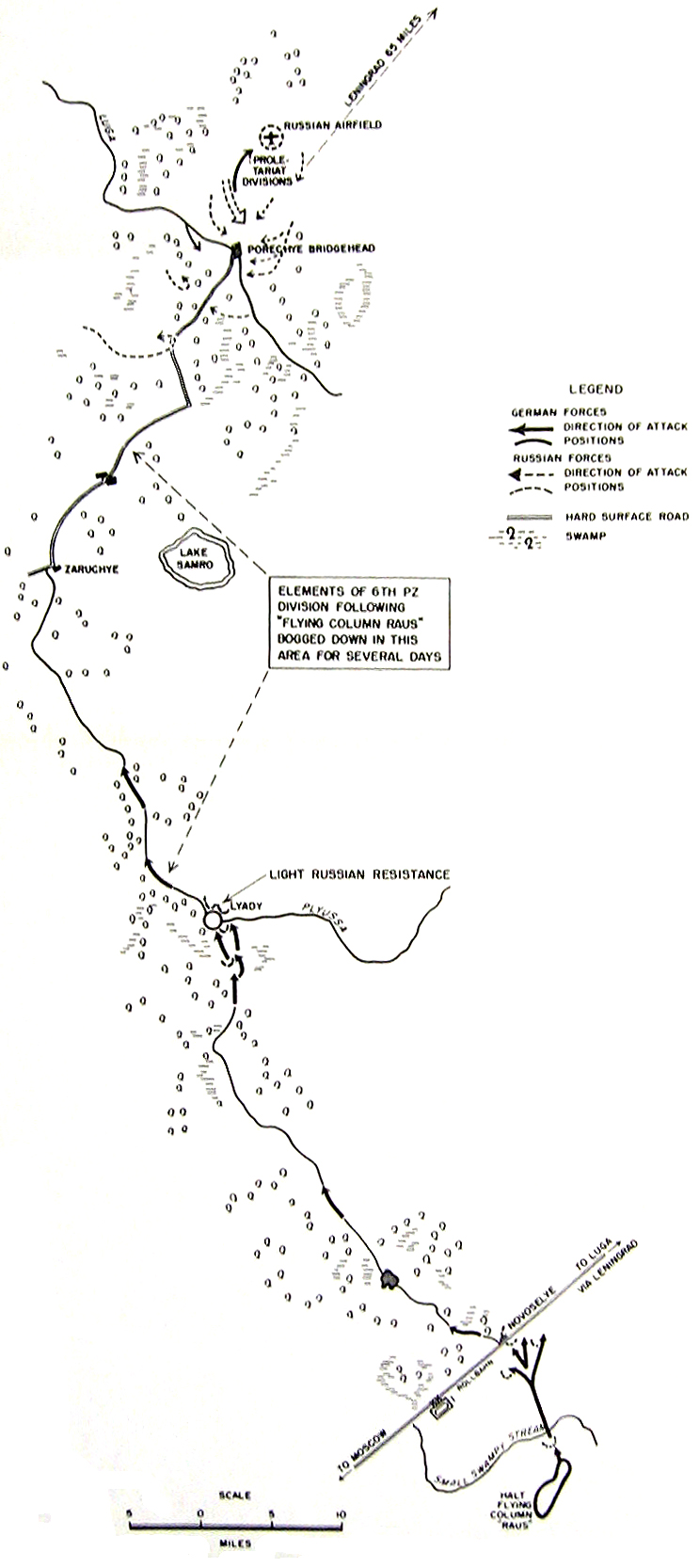 MAP 3.	Advance of Flying Column Raus to the Porechye Bridgehead