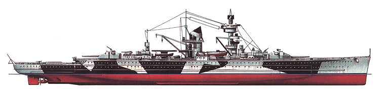 Admiral Scheer. In 1942 forecastle was rebuilt to make it less visible from the distance. Camouflage pattern was designed with light color painted bow and stern to make battle cruiser appear shorter