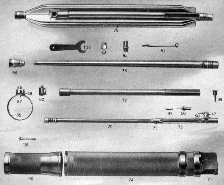 PLATE 2.—Gun Parts: Barrel Group and Operating Rod