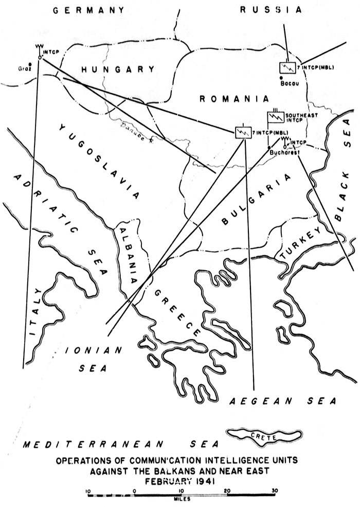 Chart 1. Operations of Communication Intelligence Units Against the Balkans and the Near East, February 1941